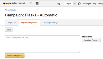 Amazon Negative Keyword Screen