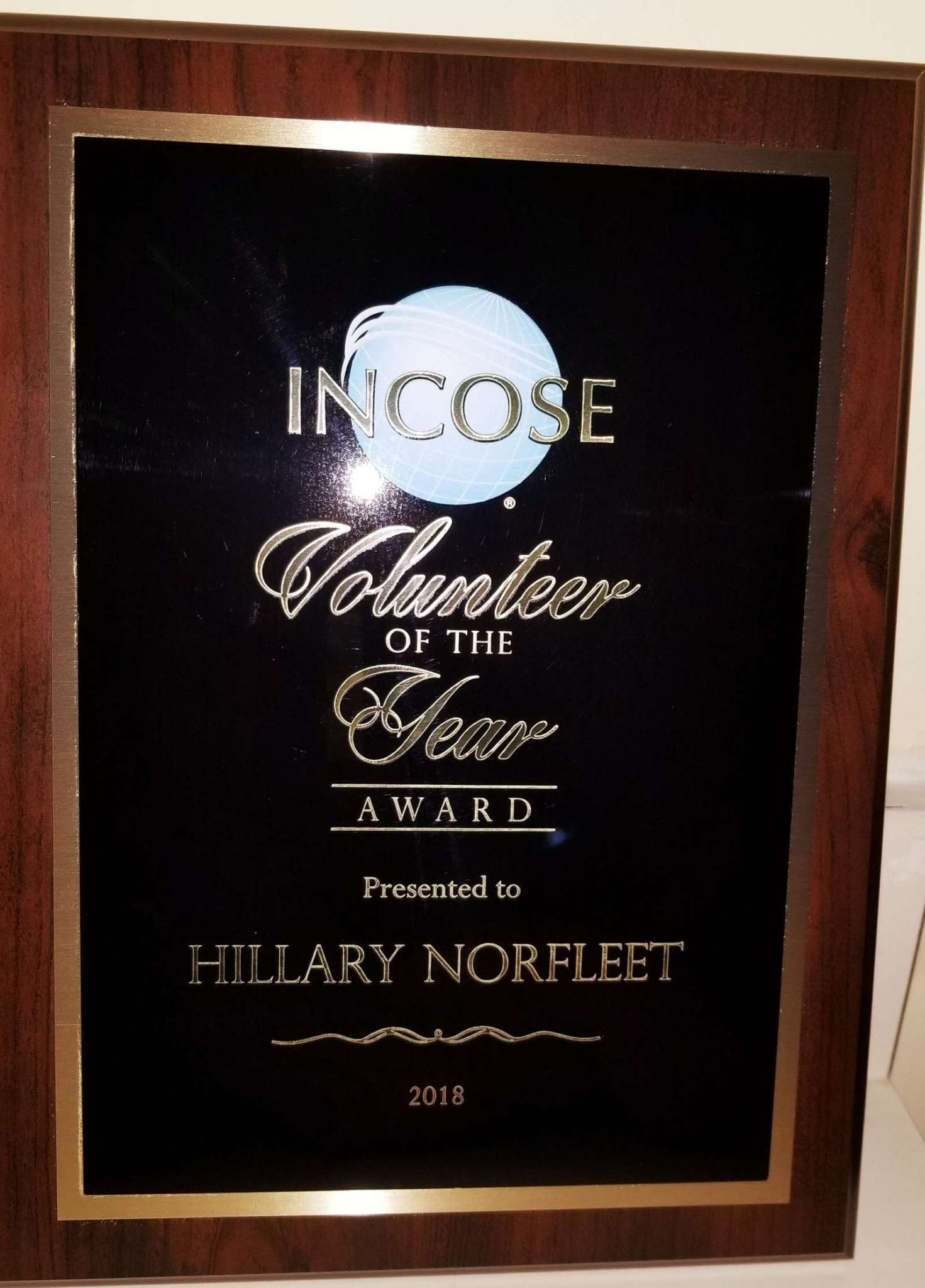 INCOSE Volunteer of the Year 2018
